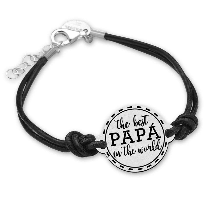 PULSERA PLATA DE LEY - The best papa in the world