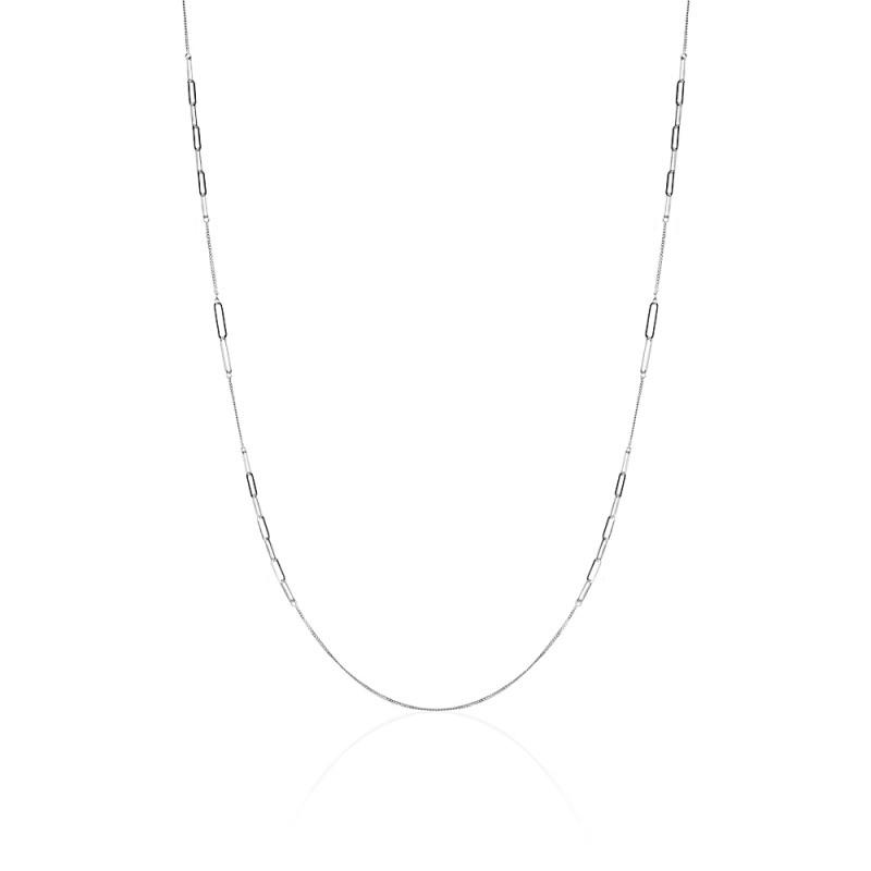 Colgante STREET STYLE con eslabones y cadena en plata rodiada 925mls