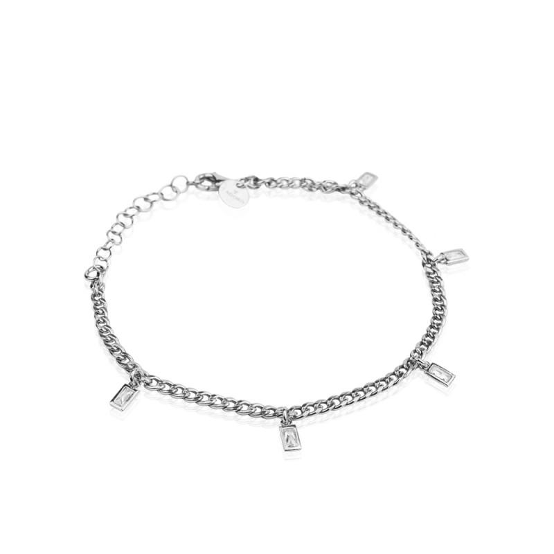 Pulsera STREET STYLE con circonitas y cadena en plata rodiada 925mls