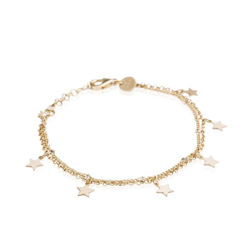 Pulsera STREET STYLE con cadena doble y estrellas en plata chapada en oro amarillo