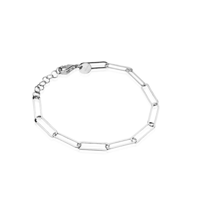 Pulsera STREET STYLE con cadena y eslabones en plata rodiada 925mls